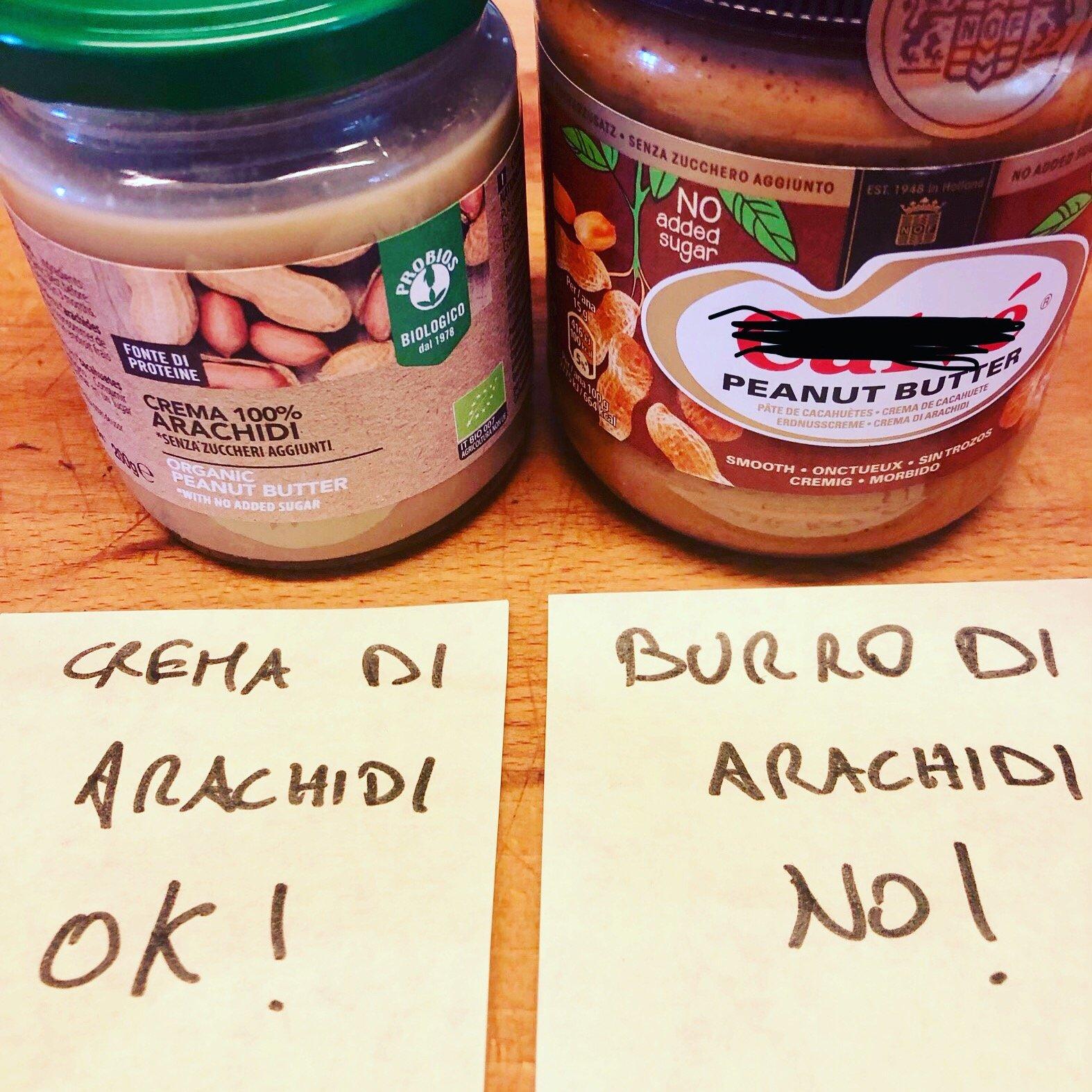 burro o crema di arachidi differenza